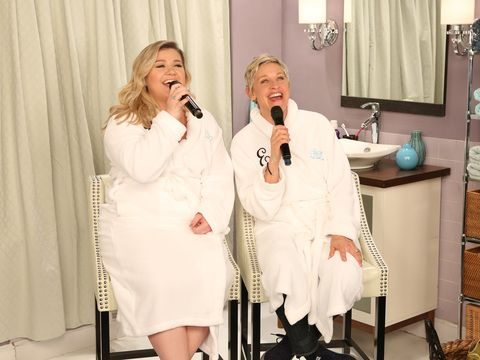 """Ellen had a bathroom concert with the incomparable Kelly Clarkson. Check out their rendition of """"Since U Been Gone."""""""