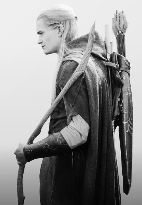 Legolas (Orlando Bloom), Lord of the Rings, movie, great, photo b/w.