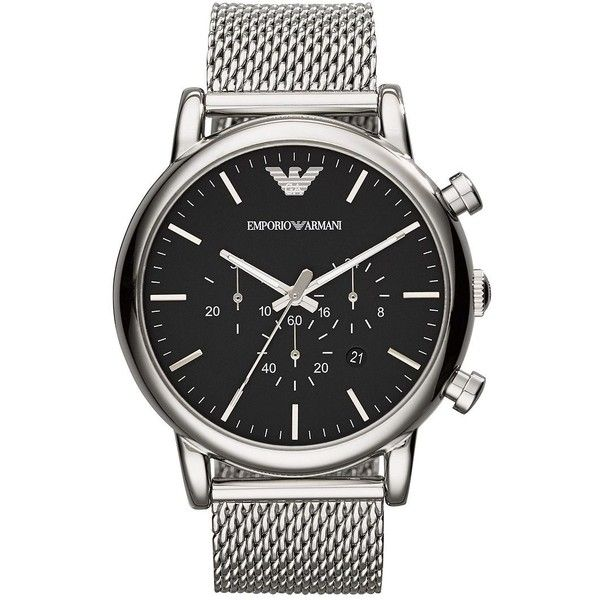 Emporio Armani Round Stainless Steel Chronograph Watch ($275) ❤ liked on Polyvore featuring men's fashion, men's jewelry, men's watches, silver, mens chronograph watches, stainless steel mens watches, mens blue dial watches, emporio armani mens watches and mens diamond bezel watches