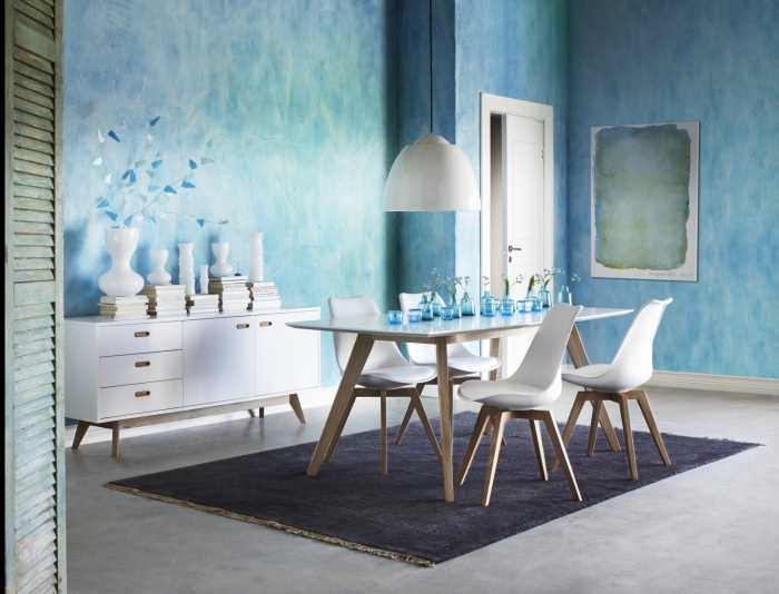 Blue dining room, white chairs