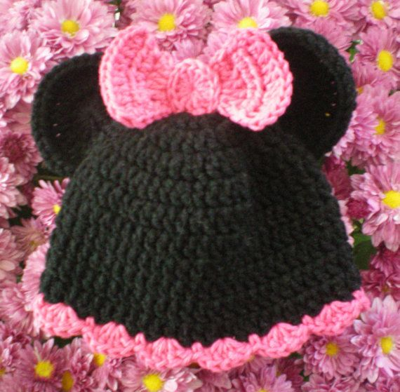 All sizes available Minnie Mouse hat black  hot pink trim and bow girls crocheted