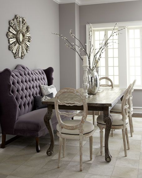 """Haute House - """"Isabella"""" Wing Banquette, """"Liday"""" Dining Table, & Swedish Side Chair    Swedish side chair is hand-carved birch wood with polyester/cotton upholstery. Sold individually; each, 19""""W x 13.5""""D x 38""""T. Imported."""