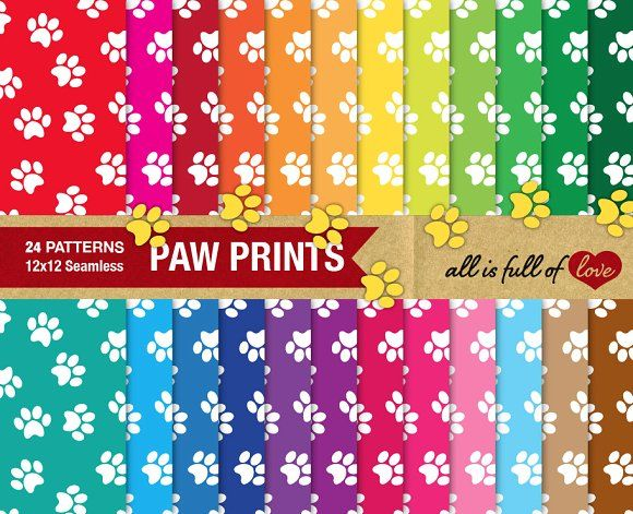 Animal Paw Print Background Paper  by All is full of Love on @creativemarket