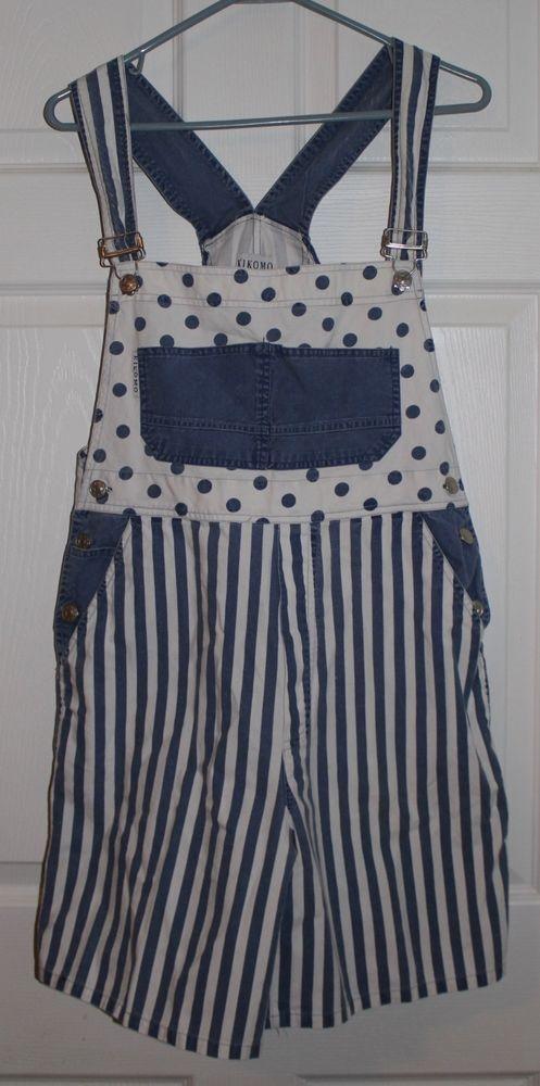 Vintage Overall Bibs Shorts Womens Polka Dots Stripes 80s 90s Medium HIP HOP #Kikomo #Shortalls
