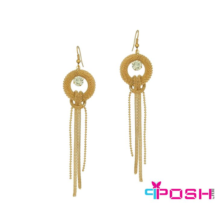 Kara - Elegant Multi stranded dangling earrings with crystal stones -Gold colour -Dimensions: 11.5 X 2.5 cm $28 #earrings #jewelry