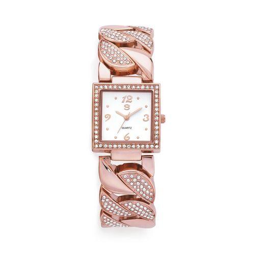G Ladies Rose Tone Stone Set Wave Bangle Watch