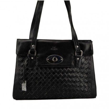 Skøn dametaske fra The Monte i sort kalveskind med flet foran - 52143