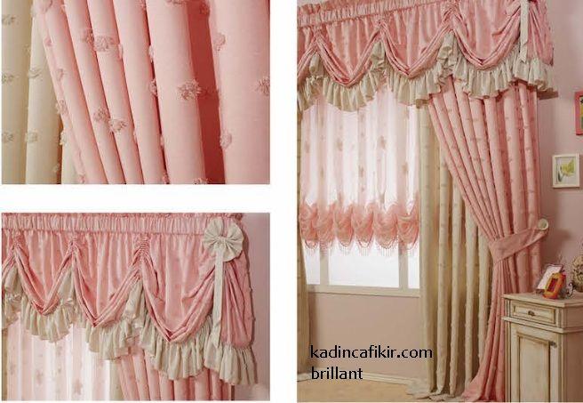 Brillant Home Art Of Curtain koleksiyonu, yeni sezon pembe çiçekli krem pileli fon ve tül perde seti modeli | Kadınca Fikir