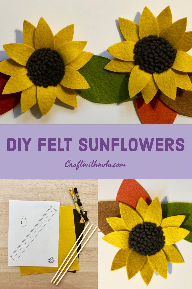 Diy Felt Sunflowers Made With Bamboo Felt A Earth Friendly Natural