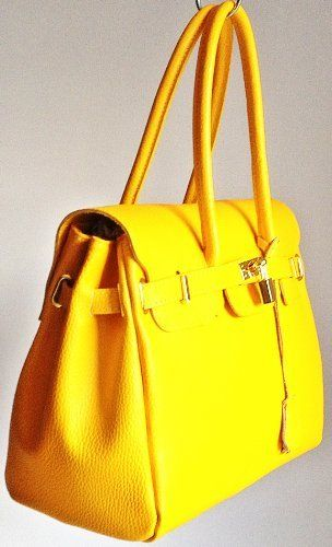 Leather Lined Birkin Inspired Handbag Genuine Italian Leather With Gold Coloured Trims Excellent Quality By Handbag Bliss! on Amazon £69.95