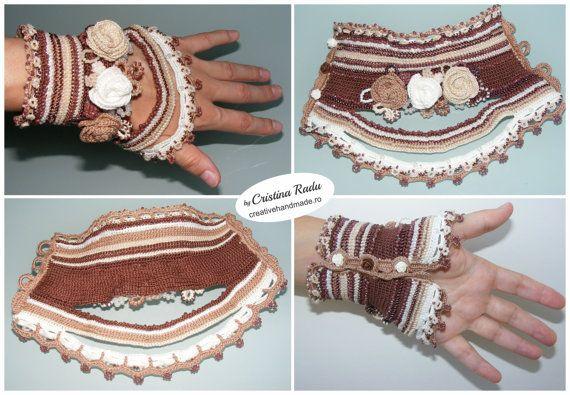 Häkeln-Armband aus Baumwolle mit vielen Sand Perlen, Hochzeit-Manschette, Anweisung Armband, gehäkelt, Rosen in Farben Mokka, handgemachte Armband, Manschette Gestricken, 100 % Baumwolle, einzigartige Armband, Geschenk für sie, große Größen häkeln Armband, das Geburtstagsgeschenk ------------------------------------------------------------------------------------------------  Das Armband ist nur auf Bestellung gemacht!  Maße: Geringer Teil = 21,5 cm Länge (8,4) Handgelenk Umfang = 1...
