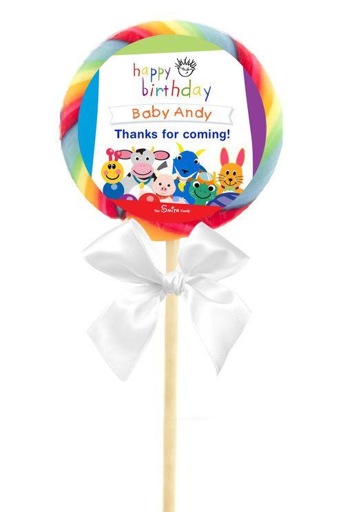 12 BABY EINSTEIN Birthday Party Favor Personalized LOLLIPOP STICKERS