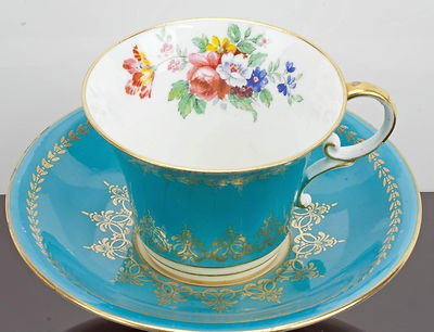 Aynsley Tea Cup and Saucer Turquoise and Gold with English Cut Flower Bone China on eBay!