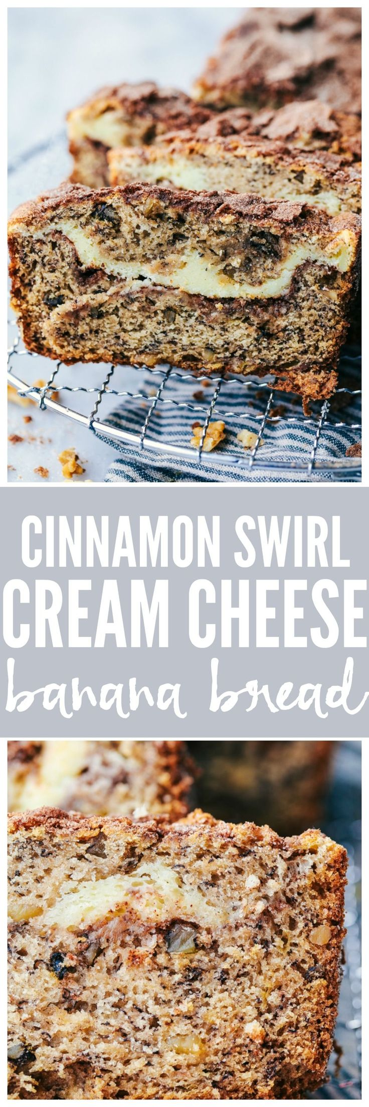 Cinnamon Swirl Cream Cheese Banana Bread has a delicious cinnamon swirl and cheesecake filling with walnuts hidden inside. This will easily be one of the best quick breads that you ever make!