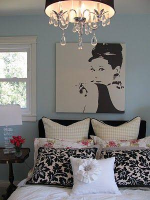 Audrey Hepburn focal point, bedroom/black/white/blue  http://kelledame.blogspot.com/p/portfolio.html