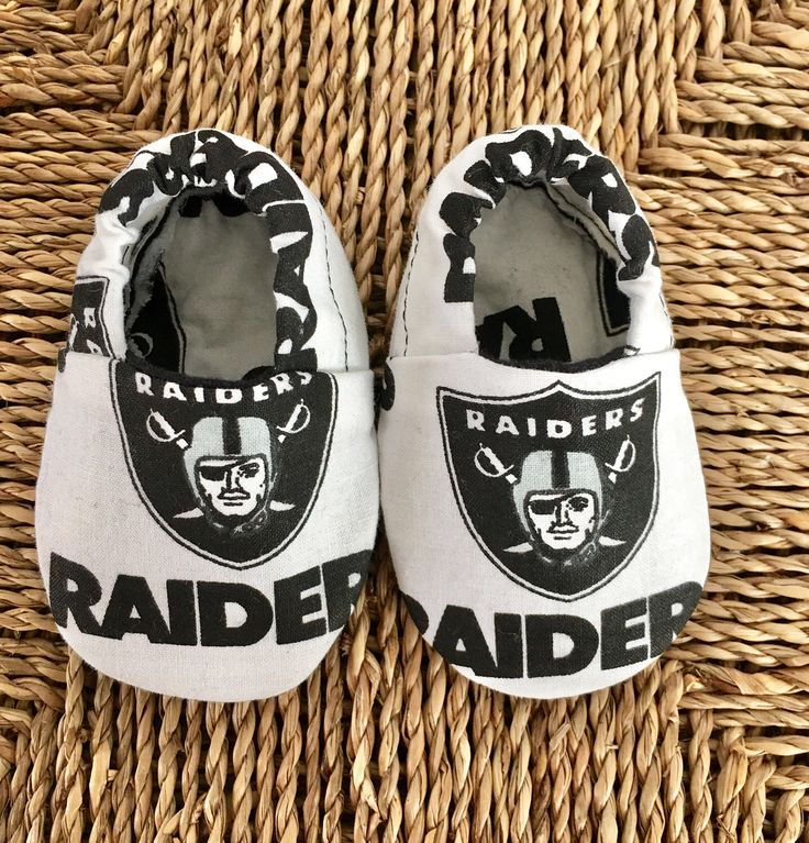 A personal favorite from my Etsy shop https://www.etsy.com/listing/509335848/oakland-raiders-baby-shoes-baby-slippers