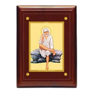 Picture of  Lord Sai Baba Wooden- MDF  Diviniti provides excellent gifting solutions which include Religious Car Frames, Wall Hangings, Desktop Accessories and Promotional Gift Items embodied in Swiss technology 24 carat Gold Plated.