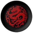 Traditional Red and Black Chinese Dragon Circle Plate