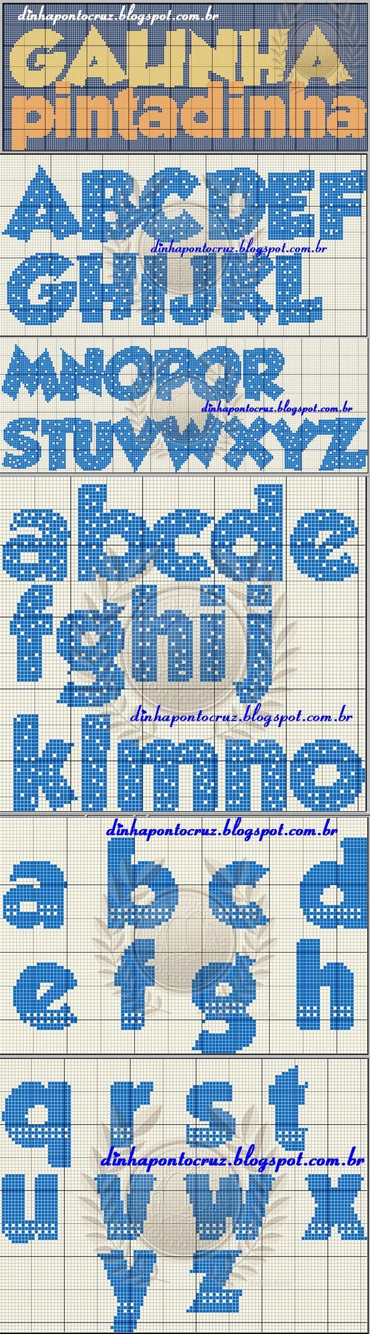 Mejores 155 imágenes de Ponto Cruz - Alfabeto en Pinterest | Bordado ...