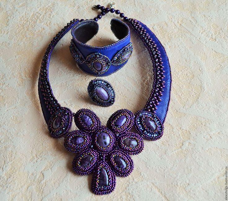 Купить Колье с чароитом - фиолетовый, украшения ручной работы, украшение на шею, для девушки