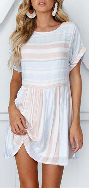 $24.99 SALE! SHOP NOW>>>Fashion Round Neck Striped Short Sleeve Mini Dress