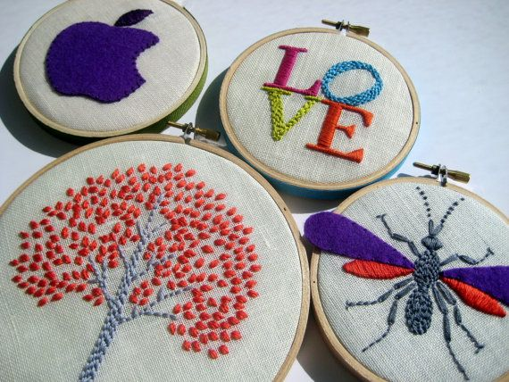 Embroidery Hoop Art - Tree, LOVE, Apple, Wasp (four pieces) hand embroidered via Etsy
