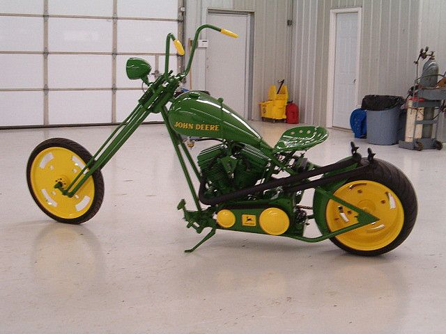 John Deere Custom Chopper....for you farm boys ....who likes this for a bike!! Kam is all over hiself lol