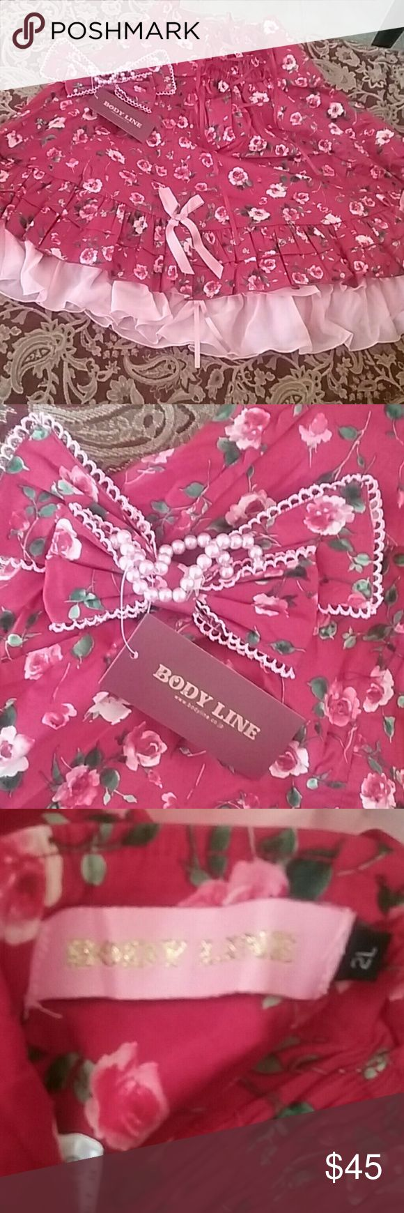 NIP Bodyline kawaii,fairy kei skirt!! New in package Bodyline rose and pink skirt with adjustible straps..Rose with light pink bows and liner.Also a headbow to match with pearls.Absolutly beautiful.Its says 2 l. But in Foreign sizes it would be a small to medium.Very Kawaii,fairy kei,lolita.In excellent new condition.Still in bsg.Took out to display.Mailed in orihinal bag. bodyline Skirts