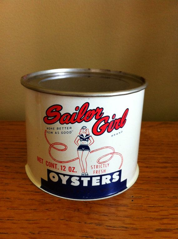 NICE vintage Sailor Girl  12 oz oyster tin can on Etsy, $22.95