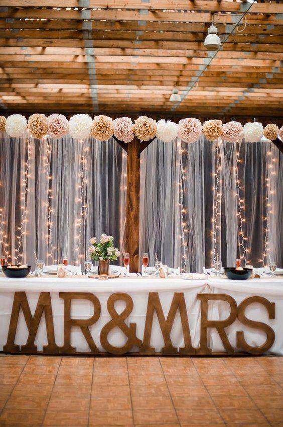 Rustic barn sweetheart table for wedding reception / http://www.deerpearlflowers.com/top-20-rustic-country-wedding-sweetheart-table-ideas/