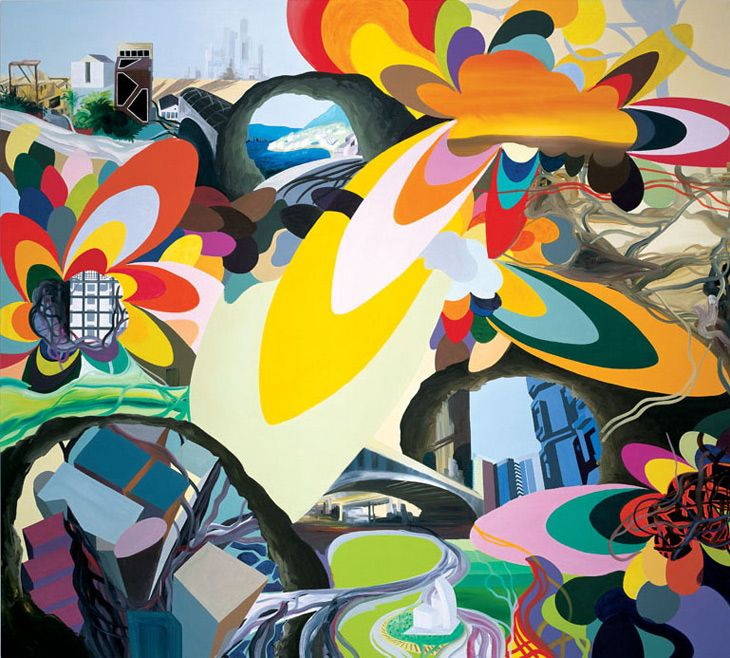 Franz Ackermann, Mental Map: Evasion V, 1996, acrylic on canvas, 275 x 305 cm © Franz Ackermann