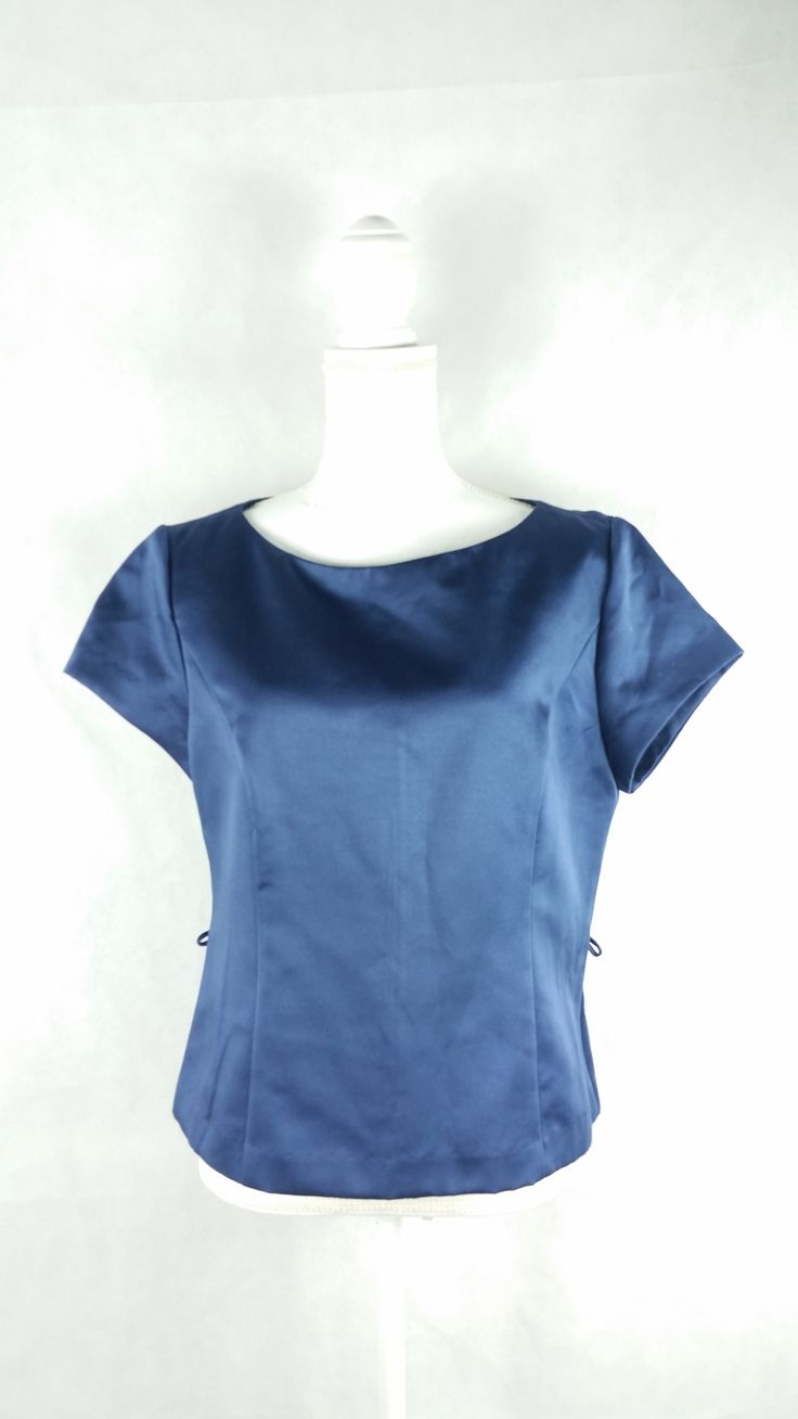 Vintage Jessica Howard Navy Blue Formal Blouse Sz 12 Large