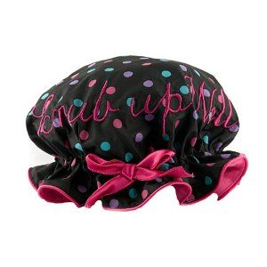Bombay Duck I Scrub Up Well Shower Cap by Bombay Duck. $23.99. Waterproof, Diameter 10.2 inches, Boxed. Ladies shower cap by Bombay Duck London. Waterproof. Diameter: 10.2 inches. Hand wash only. Embroidered with 'I Scrub Up Well' and bow to the front.