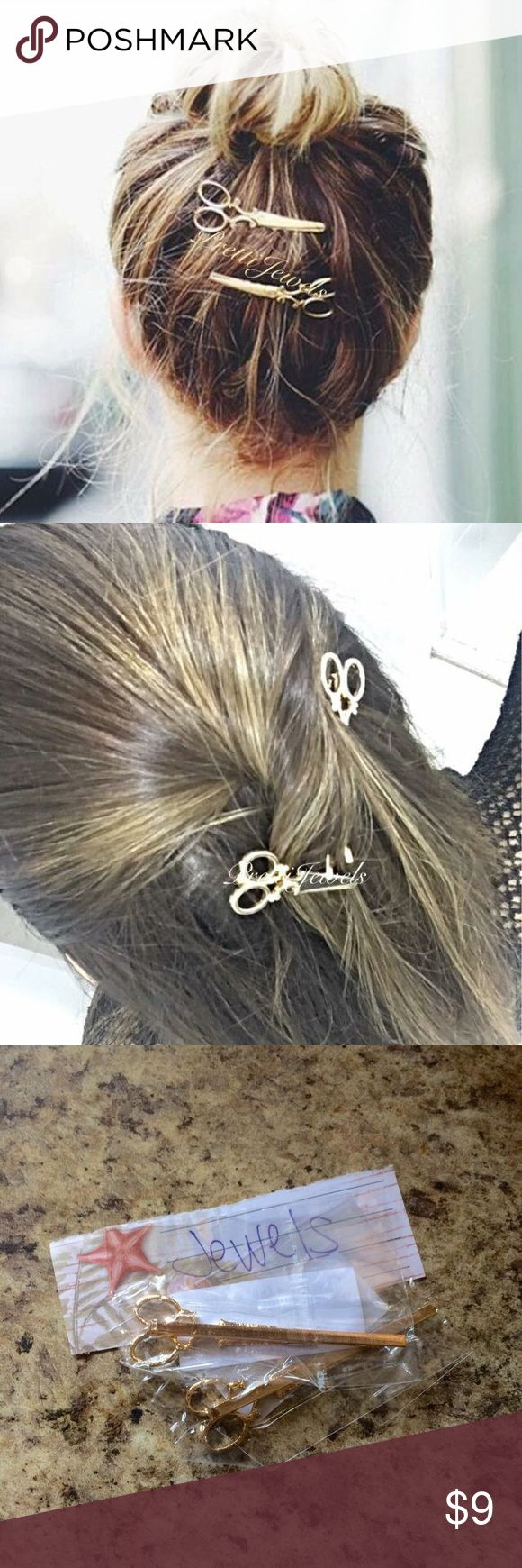 4 pc Scissors Hair Clip Gold Toned ❄️Brand new ❌ FIRM PRICE❄️ Yes I Bundle❤️  No holds. Any holds/offers will be ignored!    Orders are processed in 2-4 biz days, excludes transit time, holidays & weekends. Comes w tracking.                     _____________________                                  ✨Gold or silver are available✨   Hair stylist hair pin barrette Clip stocking stuffer gift Christmas Accessories Hair Accessories