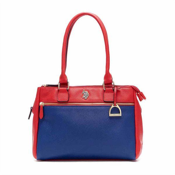 U.S. Polo Assn. Jenna Triple Entry Satchel - Uspa - Blue - Size One... (370 PLN) ❤ liked on Polyvore featuring bags, handbags, navy handbags, white satchel handbags, navy blue handbags, red satchel purse and white handbags