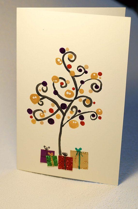 Fancy tree  Handmade Christmas Card Christmas by FancyArts on Etsy  $10.25 CAD