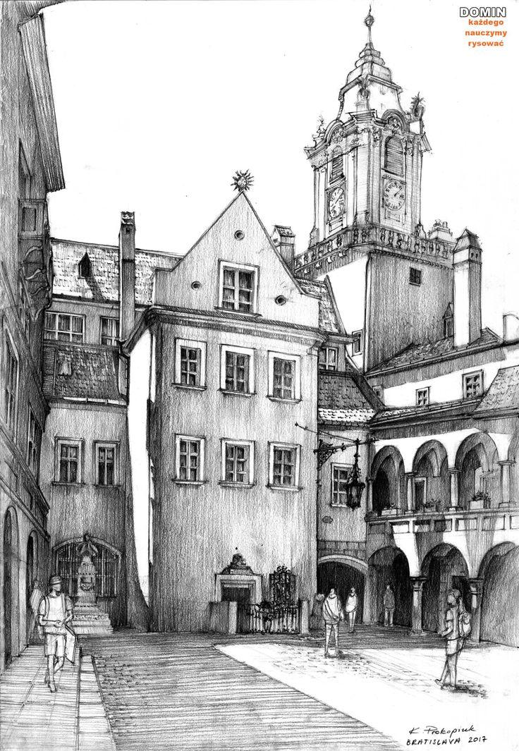 Rysunek z pleneru w Bratysławie z 2017 roku. #art #illustration #naukarysunku #domin #drawing #rysunek #sketchbook #pencil #ołówek #kursrysunku #howtodraw #jakrysować #architecture #bratislava