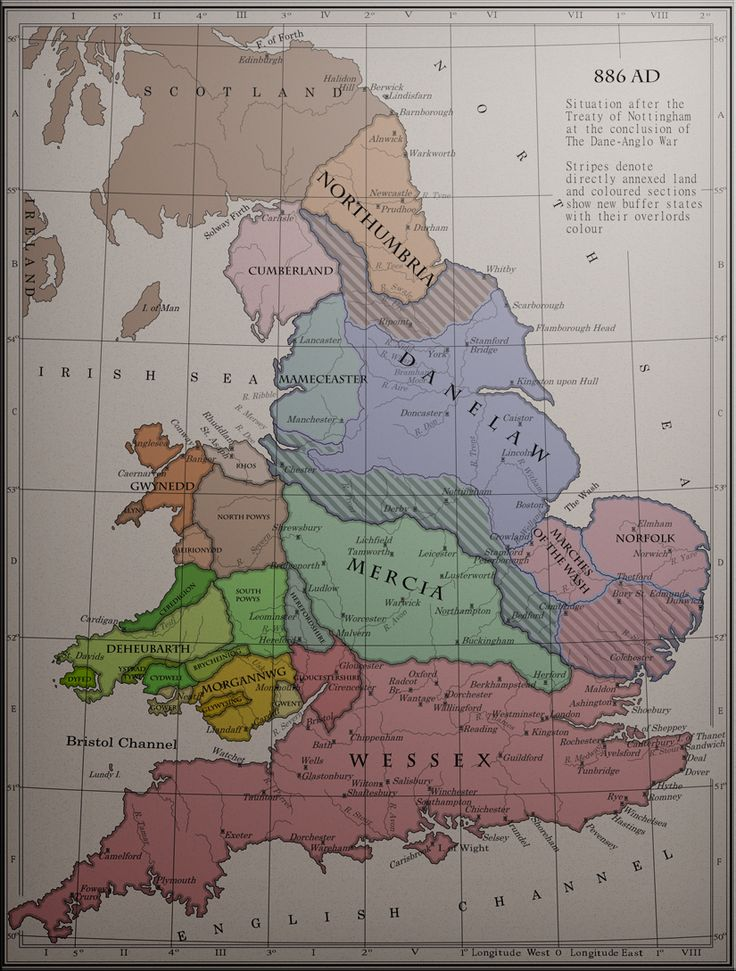 886AD: 'the situation after the Treaty of Nottingham at the conclusion of The Dane-Anglo War' ✫ღ⊰n