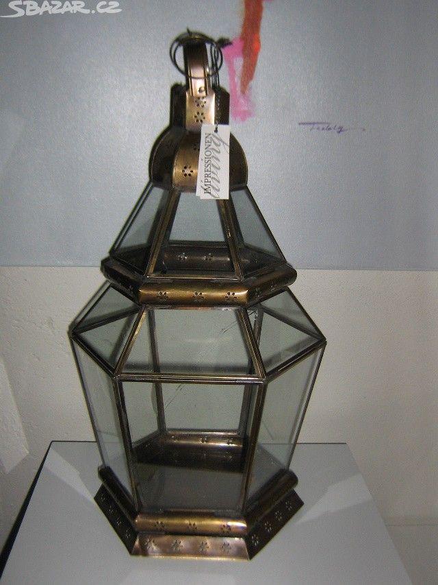 Zavěsna Lucerna skleněná s kovový ram.Rozměry:vyška 60 - obrázek číslo 1