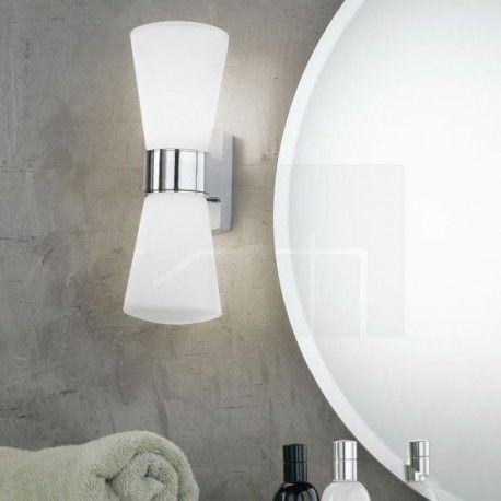 Απλίκα τοίχου μπάνιου CAILIN γυάλινη λευκή με χρώμιο διπλή
