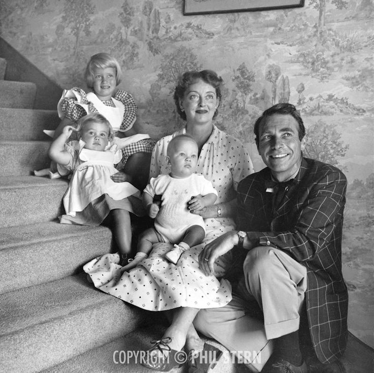 Bette Davis with her husband, Gary Merrill, and their children, B.D., Margot, & Michael ca. 1954