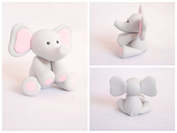 Baby Elephant Cake Topper / Baby Shower Gift (Pink)