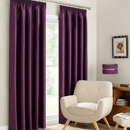 Dunelm Montana Lined Pencil Pleat Curtains in Plum Purple (228cm x 137cm)