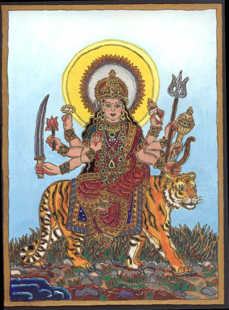 A painting isnpired by oneof my dreams in which the Godess emerged riding her tiger from a lake. 2010 autumn, during the transit of Mars ins Scorpio.
