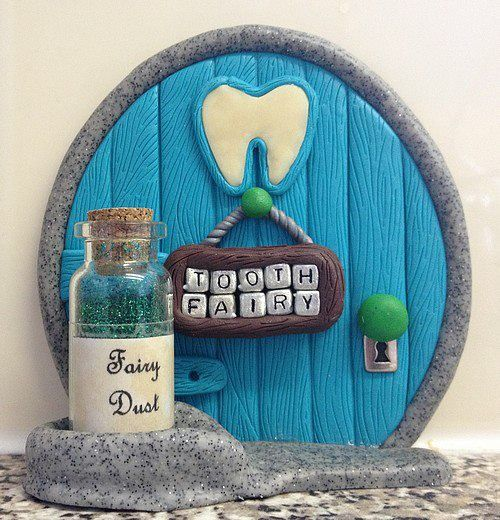 Polymer Clay Fairy Door - Blue Tooth Fairy (Made To Order)