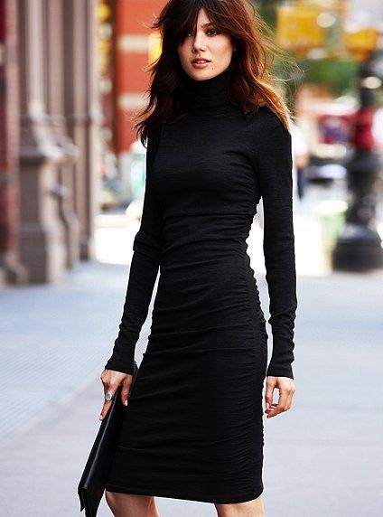 Black turtleneck dress, pouch