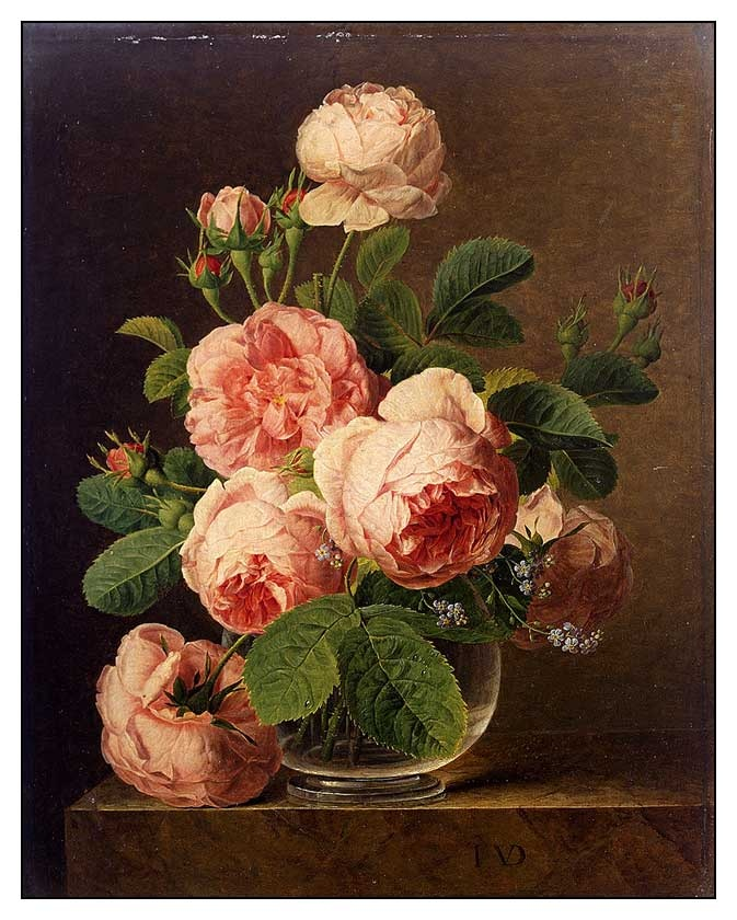 Jan Frans van Dael , Flemish painter- (1764-1840) Still Life Of Roses In A Glass Vase
