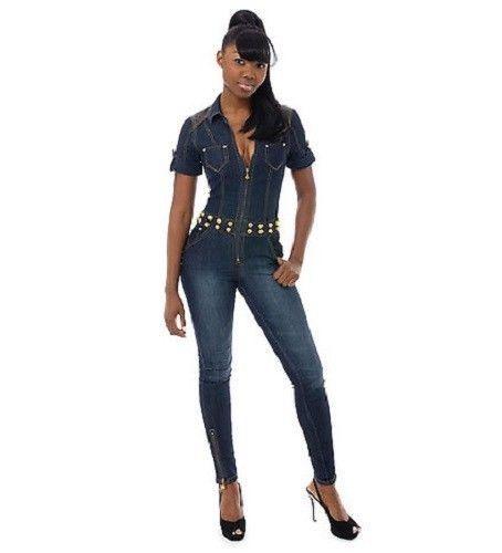 Luxury 2015 Sexy Denim Jumpsuits Autumn Jeans Jumpsuit Womens Full Length