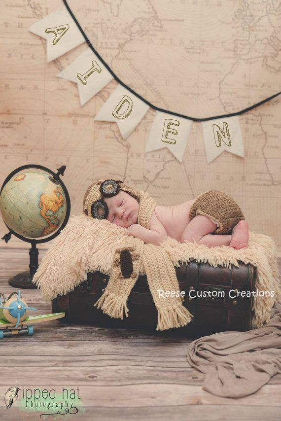 Crochet Newborn Baby Boy or Baby Girl crochet Aviator/ crochet