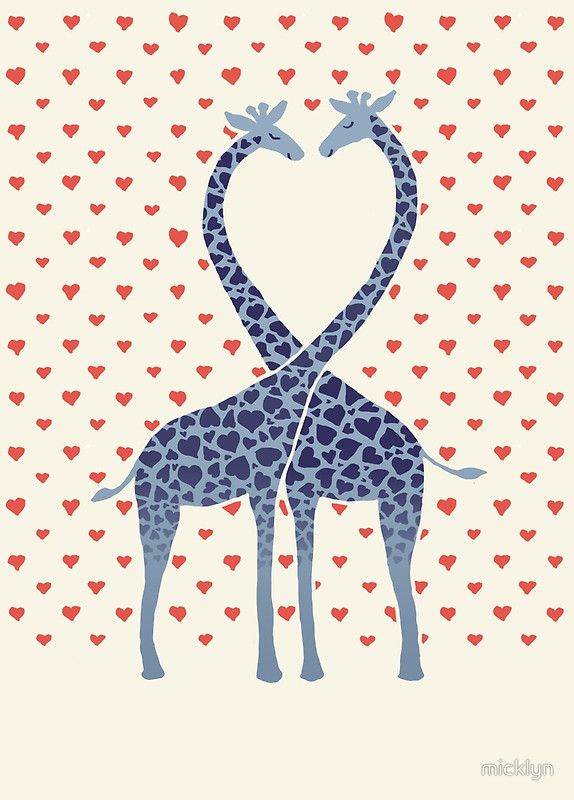 Giraffes in Love - A Valentine's Day Illustration by micklyn on Redbubble - Available as T-Shirts & Hoodies, Stickers, iPhone Cases, Samsung Galaxy Cases, Posters, Home Decors, Tote Bags, Prints, Cards, Kids Clothes, iPad Cases, and Laptop Skins